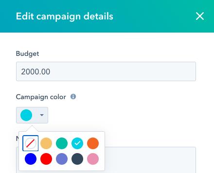 HubSpot Campaign Color Code