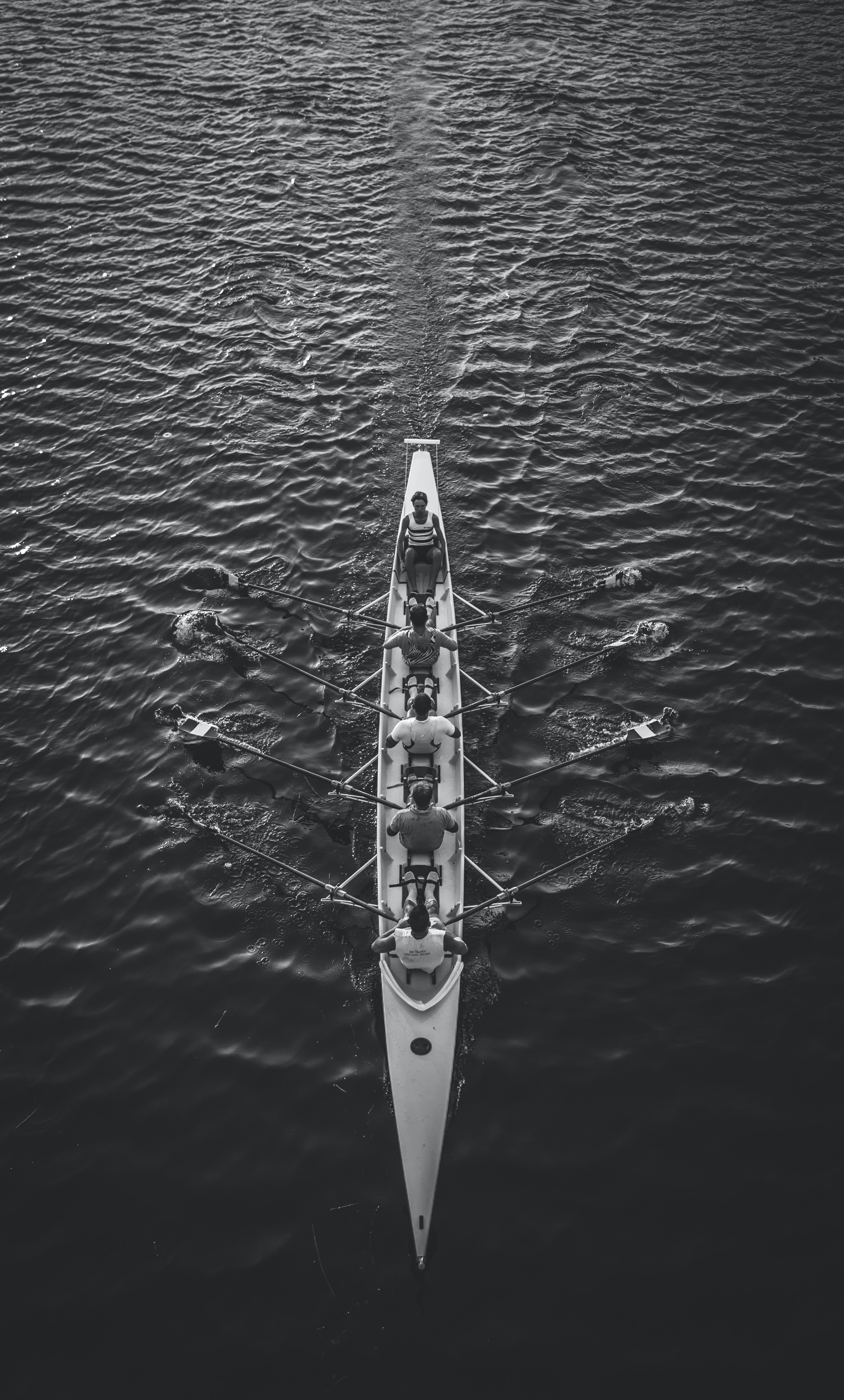 black and white photo of men rowing
