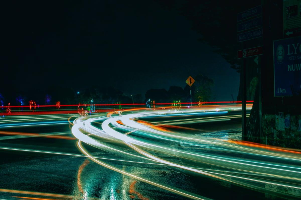 wet roads at night